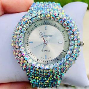 Swarovski Crystal AB Stone Geneva custom watch